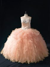 Peach Sleeveless Floor Length Beading and Ruffles Lace Up Quince Ball Gowns