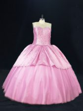 Adorable Sleeveless Beading Lace Up Ball Gown Prom Dress