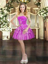 Strapless Sleeveless Prom Dresses Mini Length Beading and Ruffled Layers Fuchsia Taffeta