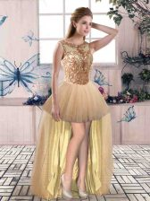 Fitting Champagne Lace Up Prom Dress Beading Sleeveless High Low
