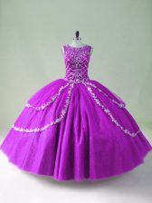 Unique Purple Zipper Scoop Beading and Appliques Quinceanera Gown Tulle Sleeveless