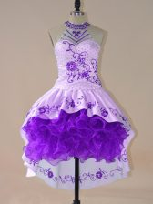 Purple Long Sleeves Satin and Organza Lace Up Prom Party Dress for Prom and Party and Military Ball