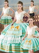 Colorful Apple Green V-neck Neckline Embroidery and Ruffled Layers Quinceanera Gown Sleeveless Lace Up
