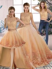Customized Peach Backless Scalloped Lace Quince Ball Gowns Tulle Sleeveless Sweep Train