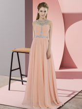 Gorgeous Peach Sleeveless Chiffon Zipper for Prom and Party