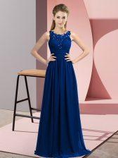 Cheap Royal Blue Chiffon Zipper Quinceanera Dama Dress Sleeveless Floor Length Beading and Appliques