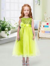 Yellow Green Toddler Flower Girl Dress Wedding Party with Sequins and Hand Made Flower Scoop Sleeveless Zipper
