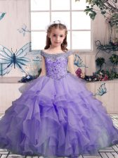 Top Selling Floor Length Lace Up Little Girls Pageant Dress Lavender for Party and Sweet 16 and Wedding Party with Beading and Ruffles