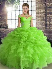Modest Ball Gowns Quince Ball Gowns Off The Shoulder Organza Sleeveless Floor Length Lace Up