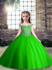 Lovely Ball Gowns High School Pageant Dress Off The Shoulder Tulle Sleeveless Floor Length Lace Up