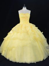 Romantic Floor Length Ball Gowns Sleeveless Yellow 15th Birthday Dress Lace Up