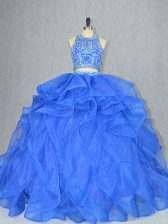 Backless 15th Birthday Dress Blue for Sweet 16 and Quinceanera with Beading and Ruffles Court Train