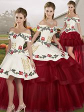 Decent Sleeveless Brush Train Lace Up Embroidery and Ruffled Layers 15 Quinceanera Dress