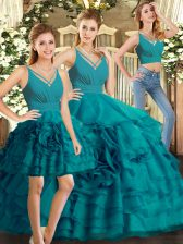 Pretty Floor Length Ball Gowns Sleeveless Teal Ball Gown Prom Dress Backless