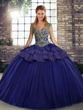 Purple Lace Up Vestidos de Quinceanera Beading and Appliques Sleeveless Floor Length
