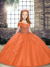 New Arrival Orange Ball Gowns Beading Child Pageant Dress Lace Up Tulle Sleeveless Floor Length
