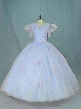 Floor Length Light Blue Ball Gown Prom Dress V-neck Short Sleeves Zipper