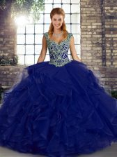 Exceptional Ball Gowns Vestidos de Quinceanera Purple Straps Tulle Sleeveless Floor Length Lace Up