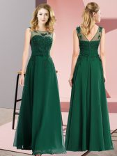 Decent Dark Green Scoop Zipper Beading and Appliques Vestidos de Damas Sleeveless