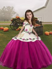 Cheap Sleeveless Embroidery Lace Up Girls Pageant Dresses