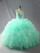 Sleeveless Beading and Ruffles and Pick Ups Zipper Quinceanera Dress
