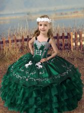 Hot Sale Straps Sleeveless Lace Up Little Girls Pageant Gowns Dark Green Organza