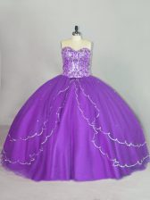 Glamorous Ball Gowns Sleeveless Purple Ball Gown Prom Dress Brush Train Lace Up