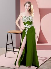 Spectacular Floor Length Zipper Dress for Prom Olive Green for Prom and Party and Military Ball with Lace and Appliques