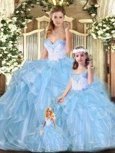 Custom Made Blue Sweetheart Lace Up Beading and Ruffles Quinceanera Gowns Sleeveless