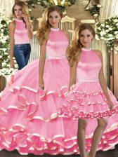 Pink Sweet 16 Dress Sweet 16 and Quinceanera with Beading and Ruffled Layers Halter Top Sleeveless Backless