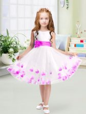 Tulle Sleeveless Knee Length Toddler Flower Girl Dress and Appliques and Belt
