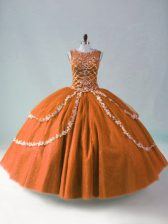 Discount Scoop Sleeveless Zipper Sweet 16 Dresses Rust Red Tulle