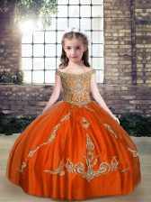 Orange Red Tulle Lace Up Off The Shoulder Sleeveless Floor Length Custom Made Pageant Dress Beading