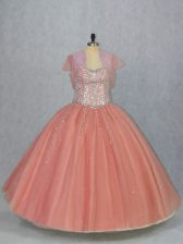 Comfortable Watermelon Red Lace Up Sweetheart Beading Quinceanera Dress Tulle Sleeveless