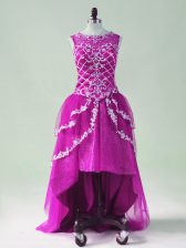 Smart Fuchsia Sleeveless High Low Beading and Appliques Zipper Prom Dress