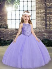 Lavender Lace Up Scoop Beading Pageant Dress Tulle Sleeveless