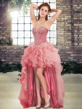 Fantastic Watermelon Red Tulle Lace Up Sweetheart Sleeveless High Low Prom Dress Beading and Ruffles