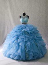 Blue Two Pieces Beading and Ruffles Quinceanera Dress Zipper Organza Sleeveless