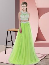 Captivating Yellow Green Sleeveless Tulle Zipper Dama Dress for Wedding Party