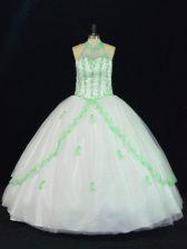 Popular Halter Top Sleeveless Sweet 16 Quinceanera Dress Floor Length Appliques White Tulle