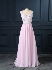 High Class Baby Pink Backless Straps Beading and Lace Homecoming Dress Chiffon Cap Sleeves