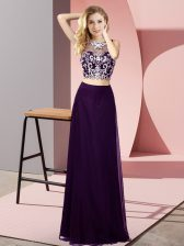 Purple Sleeveless Floor Length Beading Backless Prom Evening Gown