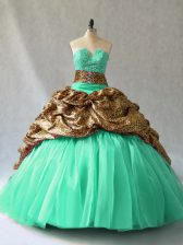 Beading and Pick Ups 15 Quinceanera Dress Turquoise Lace Up Sleeveless Brush Train