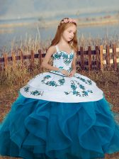 Ball Gowns Little Girl Pageant Gowns Blue Straps Sleeveless Floor Length Lace Up