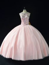 Pink Lace Up Quinceanera Gowns Beading Sleeveless Floor Length