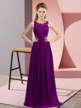 Beading and Appliques Court Dresses for Sweet 16 Purple Zipper Sleeveless Floor Length