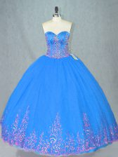 Pretty Blue Tulle Lace Up Sweetheart Sleeveless Floor Length Sweet 16 Quinceanera Dress Beading and Embroidery