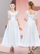 White Short Sleeves Tea Length Beading and Lace Lace Up Quinceanera Court Dresses