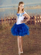 Mini Length Blue And White Evening Dress Organza Sleeveless Embroidery and Ruffles