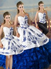 Floor Length Lace Up 15 Quinceanera Dress Blue And White for Sweet 16 and Quinceanera with Embroidery and Ruffles